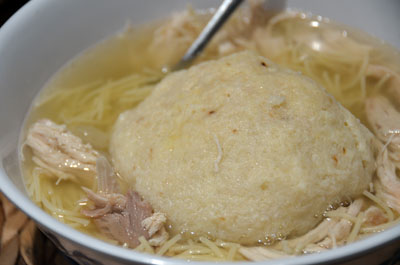 Chicken Soup with a Giant Matzo Ball